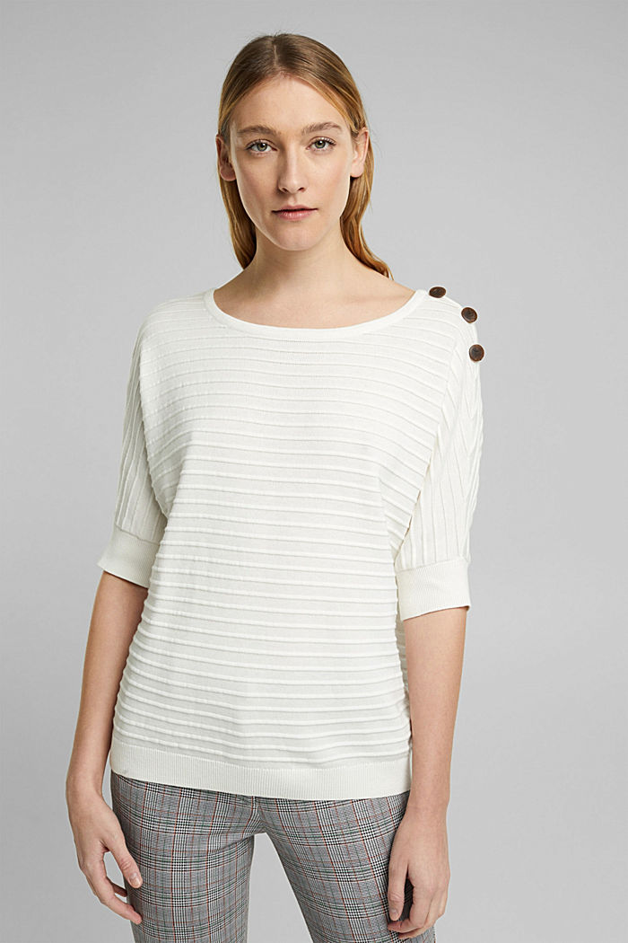 Pullover mit Organic Cotton, OFF WHITE, detail image number 0
