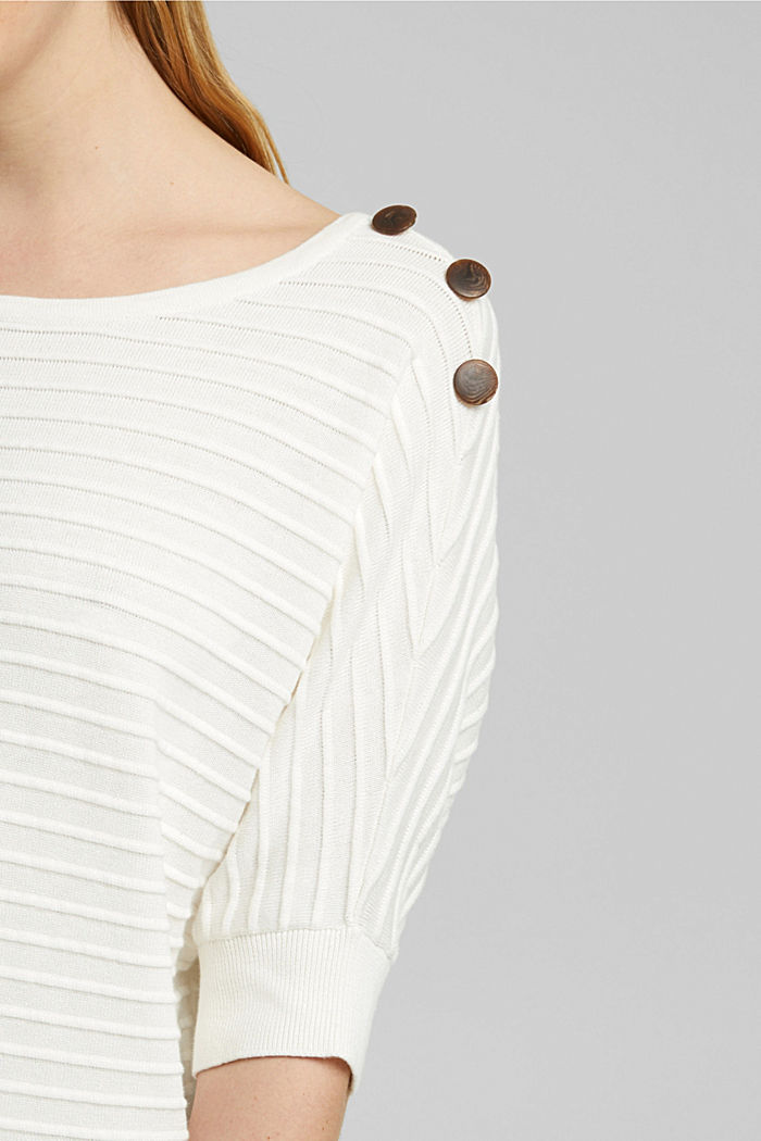 Pullover mit Organic Cotton, OFF WHITE, detail image number 2