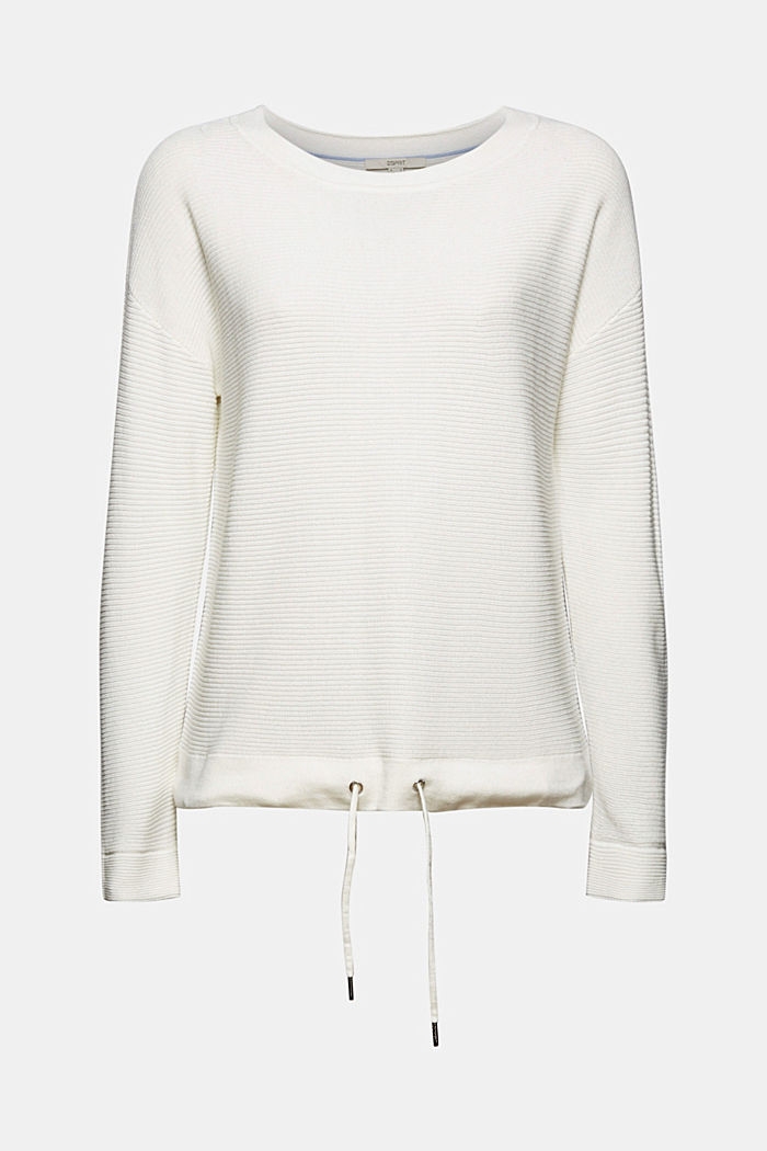Textured jumper containing organic cotton, OFF WHITE, detail image number 5
