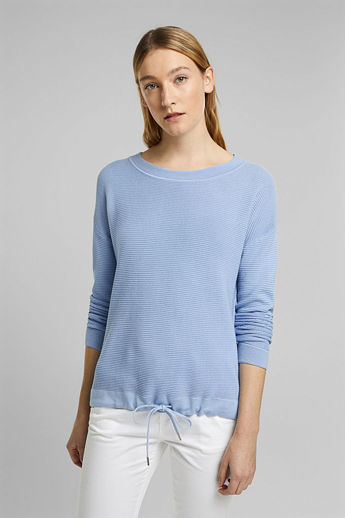 Textured jumper containing organic cotton, PASTEL BLUE, detail image number 0
