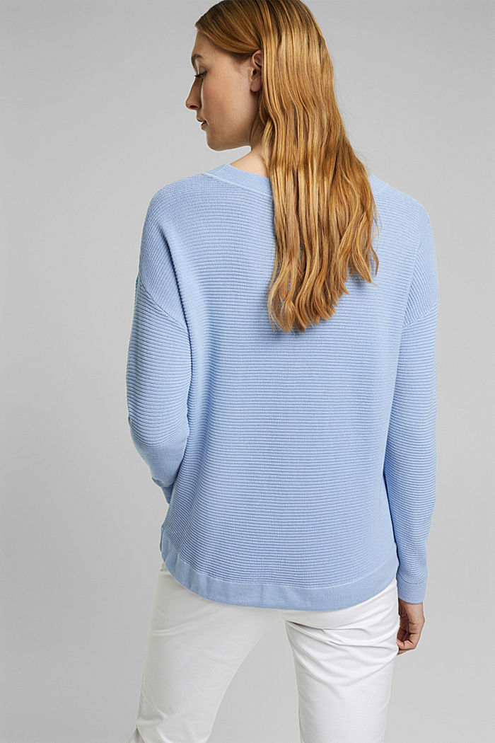 Textured jumper containing organic cotton, PASTEL BLUE, detail image number 3