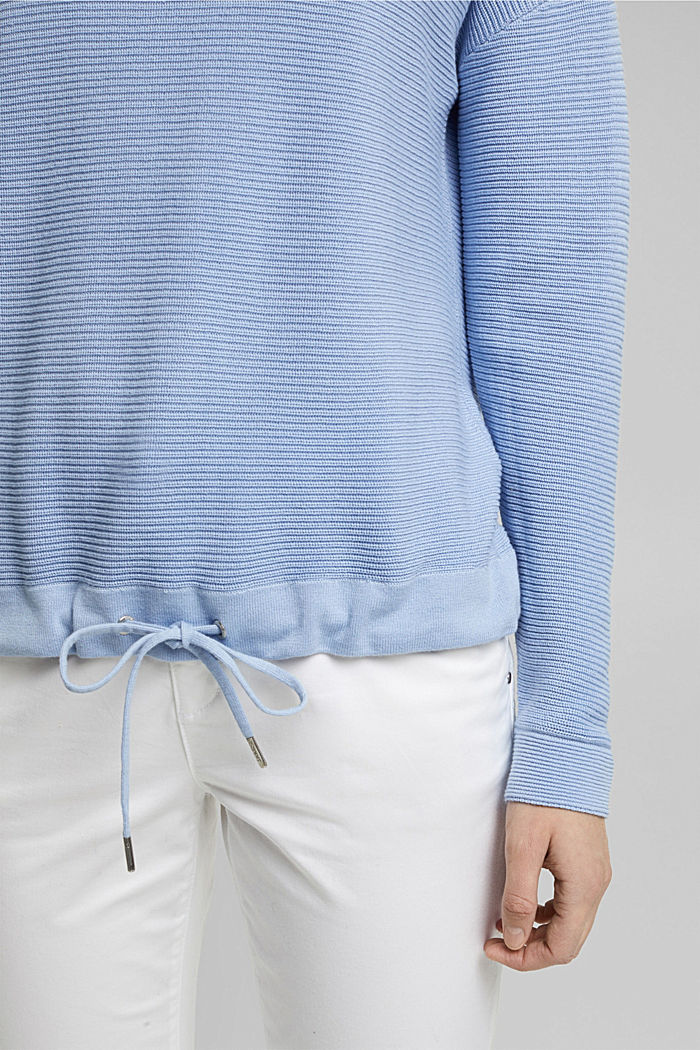Textured jumper containing organic cotton, PASTEL BLUE, detail image number 2
