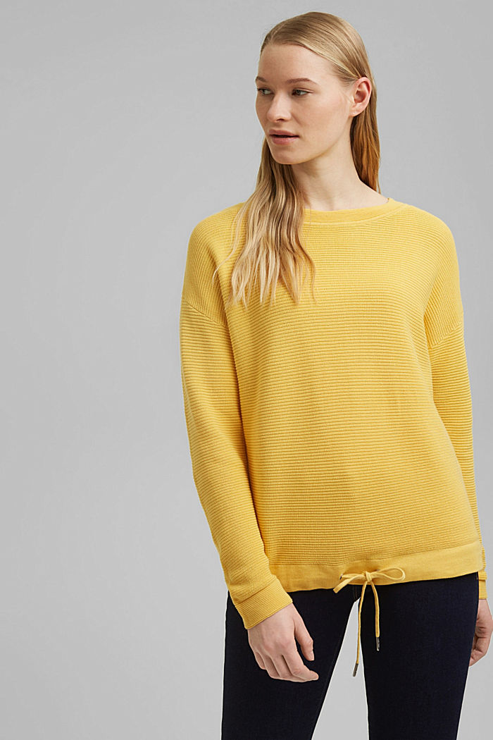 Textured jumper containing organic cotton, SUNFLOWER YELLOW, detail image number 0