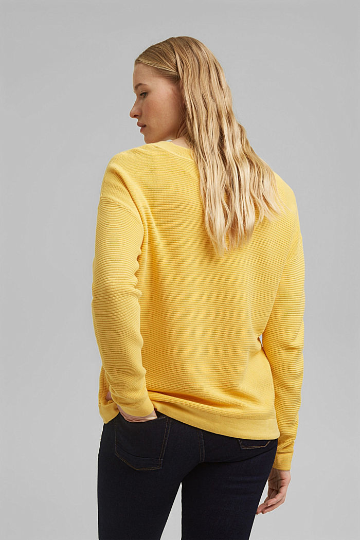 Textured jumper containing organic cotton, SUNFLOWER YELLOW, detail image number 3