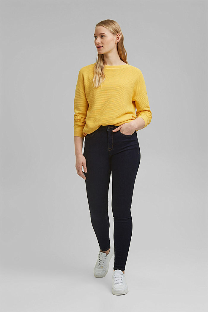 Textured jumper containing organic cotton, SUNFLOWER YELLOW, detail image number 1