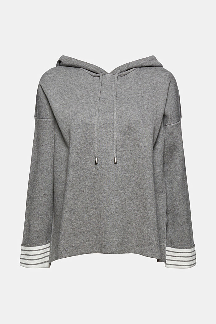 Doubleface-Pullover mit Bio-Baumwolle, MEDIUM GREY, overview