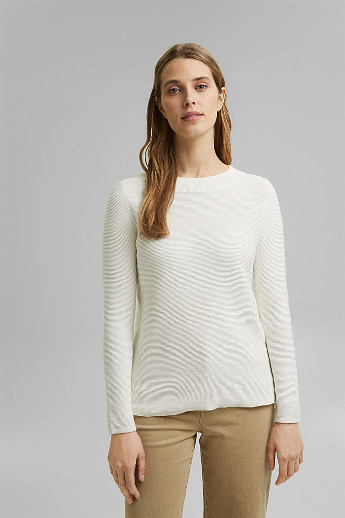 Ripp-Pullover mit Organic Cotton, OFF WHITE, detail image number 0
