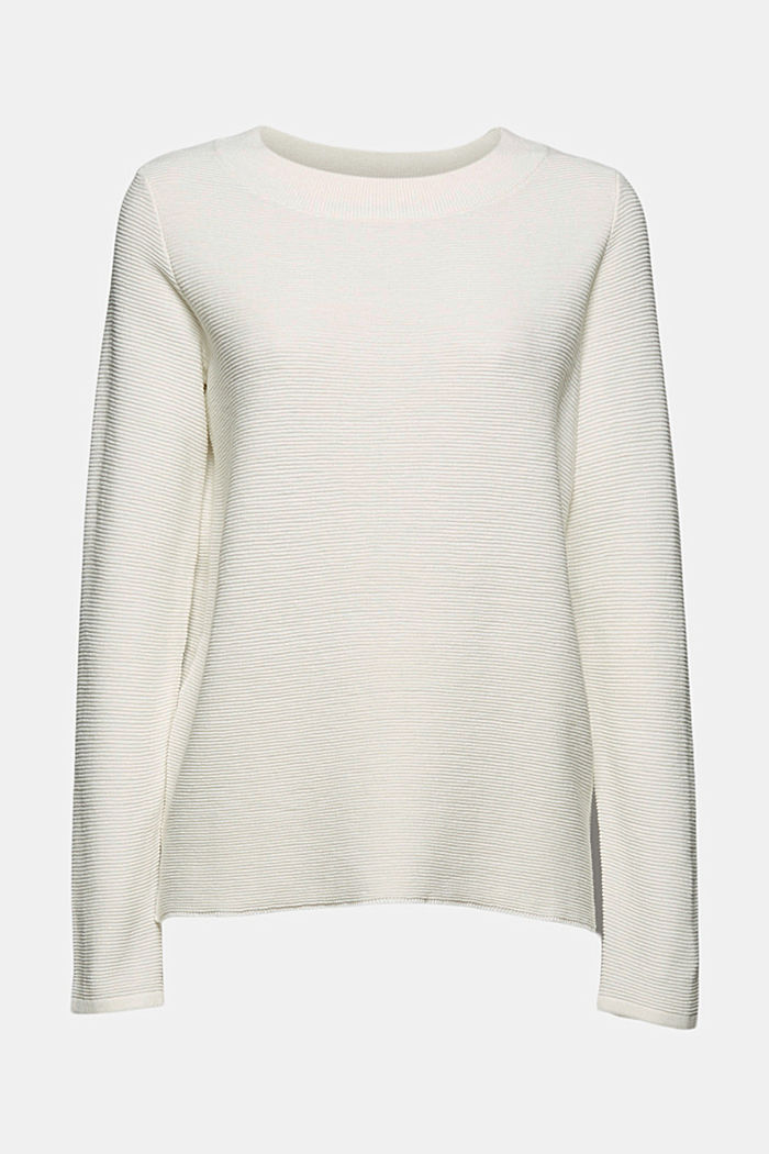 Ribbed jumper with organic cotton, OFF WHITE, detail image number 7