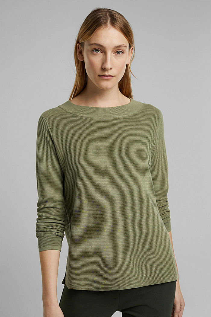 Ribbed jumper with organic cotton, LIGHT KHAKI, detail image number 0