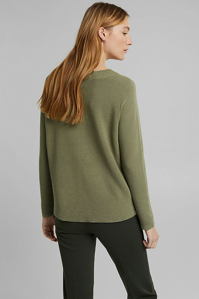 Ribbed jumper with organic cotton, LIGHT KHAKI, detail image number 3