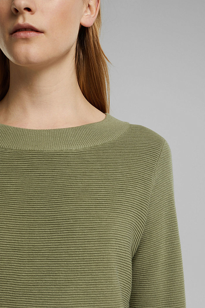 Ribbed jumper with organic cotton, LIGHT KHAKI, detail image number 2