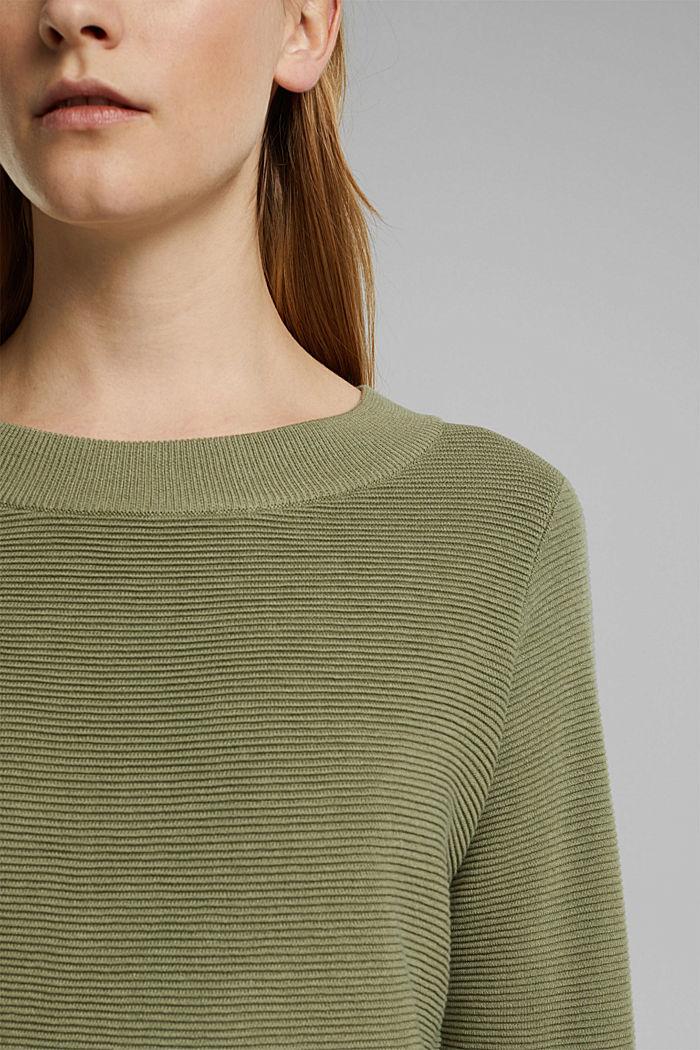 Ripp-Pullover mit Organic Cotton, LIGHT KHAKI, detail image number 2