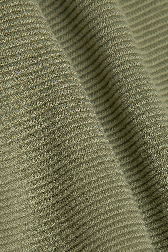 Ribbed jumper with organic cotton, LIGHT KHAKI, detail image number 4