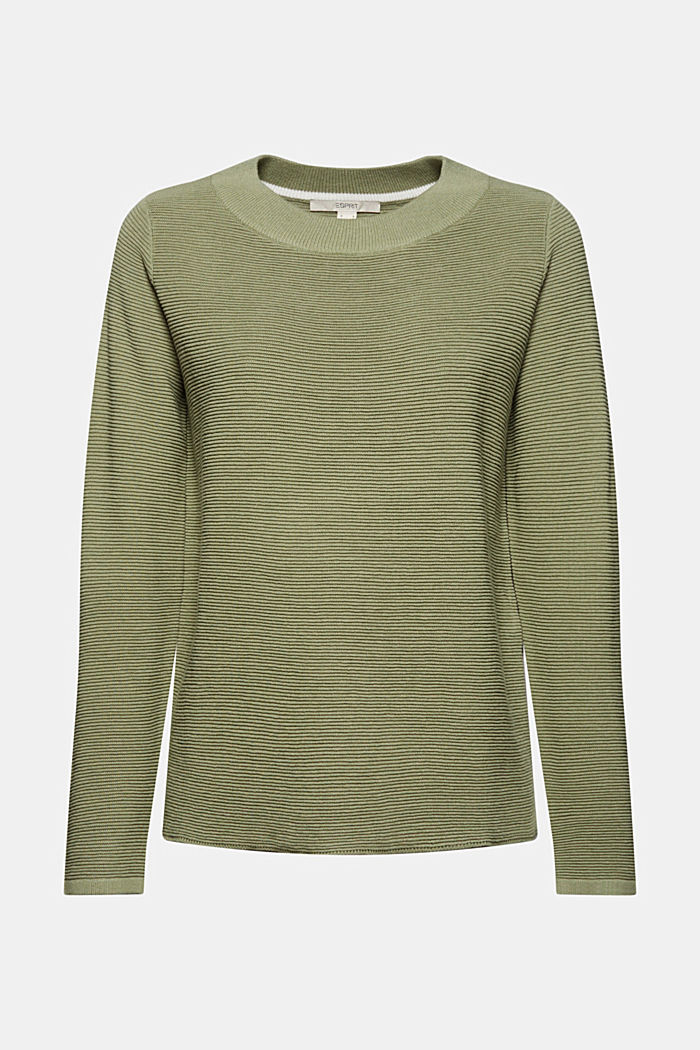 Ribbed jumper with organic cotton, LIGHT KHAKI, detail image number 5