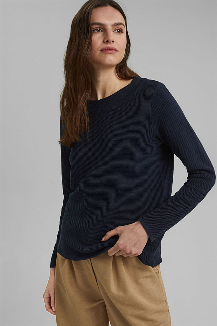 Ribbed jumper with organic cotton, NAVY, detail image number 0