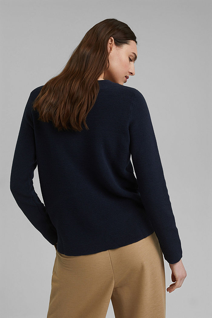 Ribbed jumper with organic cotton, NAVY, detail image number 3