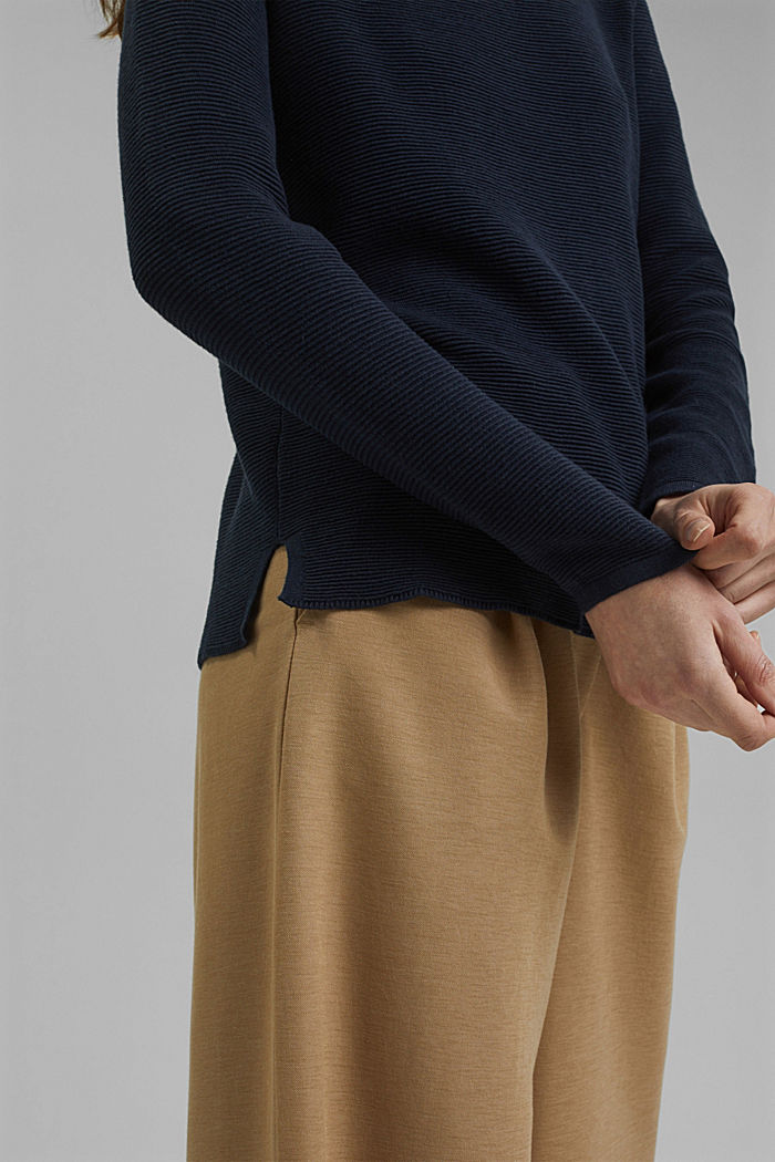 Ribbed jumper with organic cotton, NAVY, detail image number 2