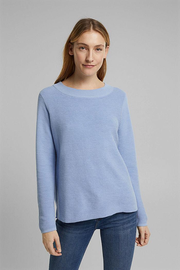 Ripp-Pullover mit Organic Cotton, PASTEL BLUE, detail image number 0