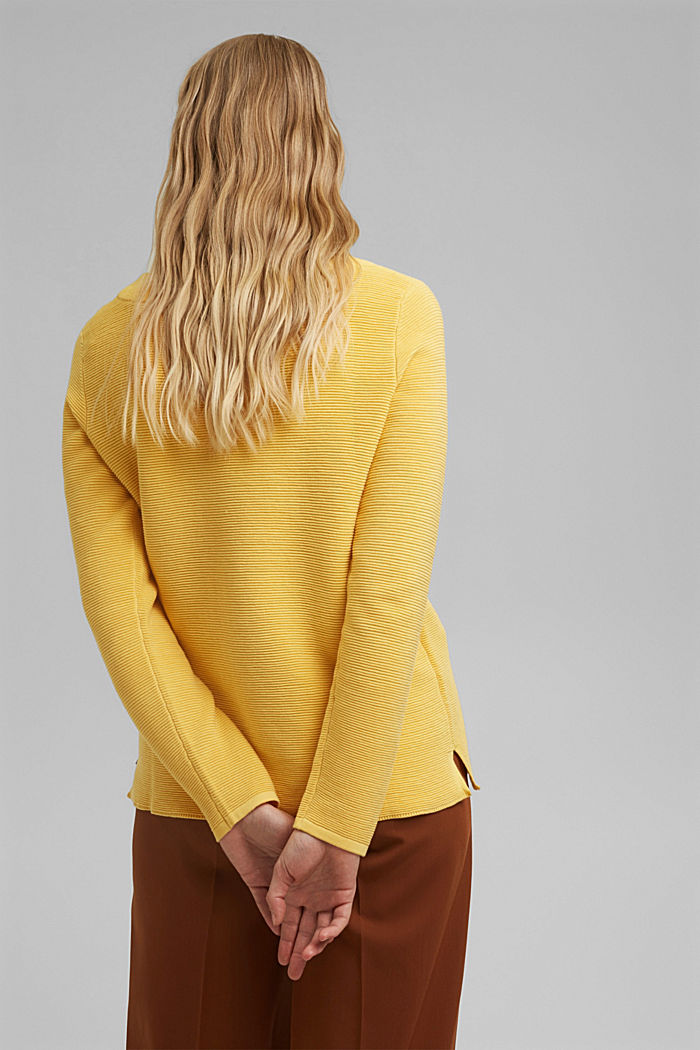 Ripp-Pullover mit Organic Cotton, SUNFLOWER YELLOW, detail image number 3