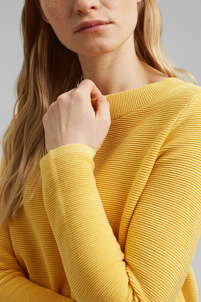 Ripp-Pullover mit Organic Cotton, SUNFLOWER YELLOW, detail image number 2