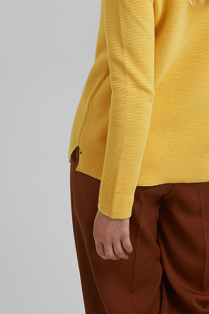 Ripp-Pullover mit Organic Cotton, SUNFLOWER YELLOW, detail image number 5