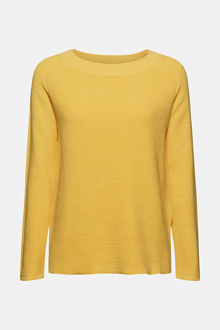 Ripp-Pullover mit Organic Cotton, SUNFLOWER YELLOW, detail image number 6