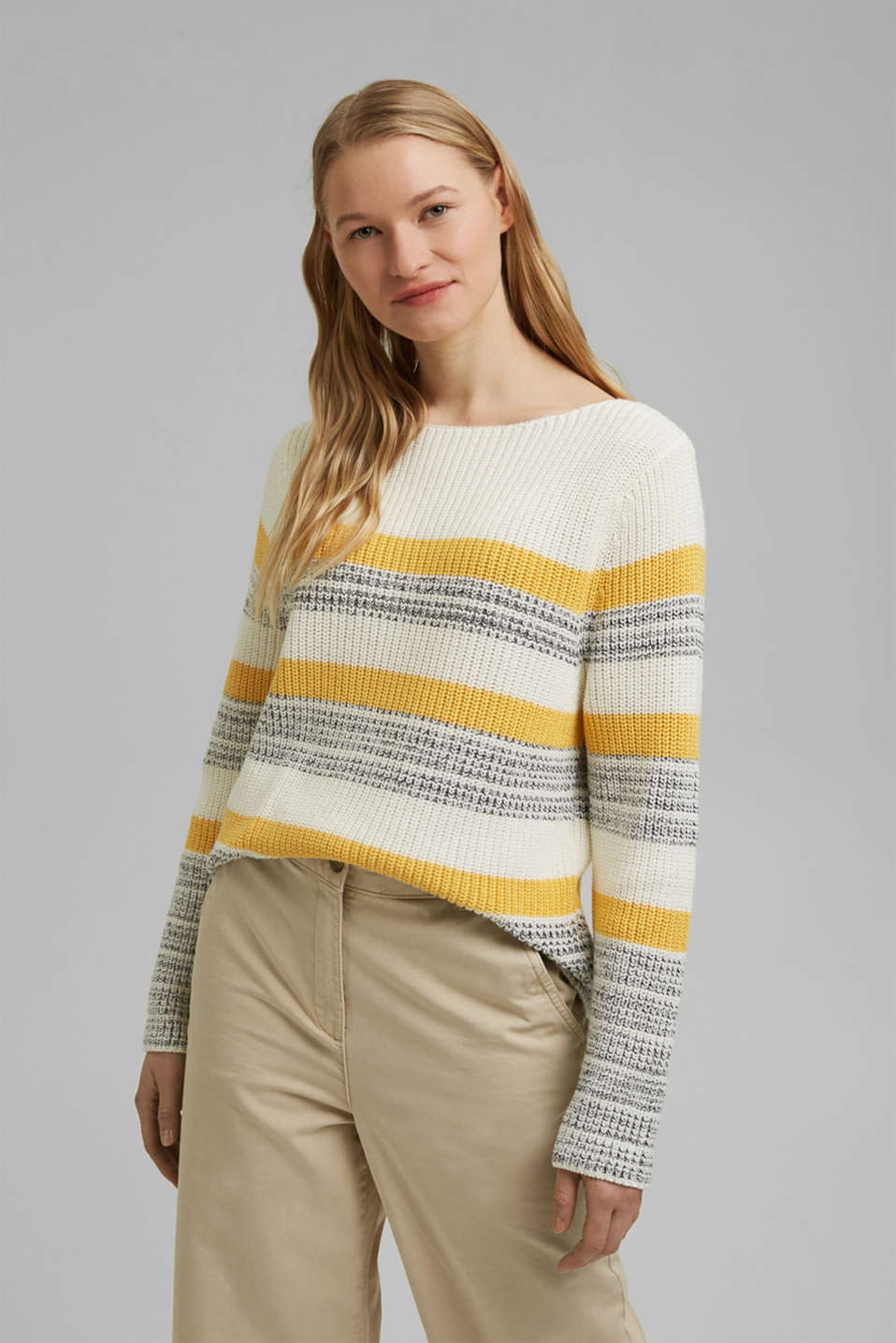 Esprit - Striped jumper made of organic cotton