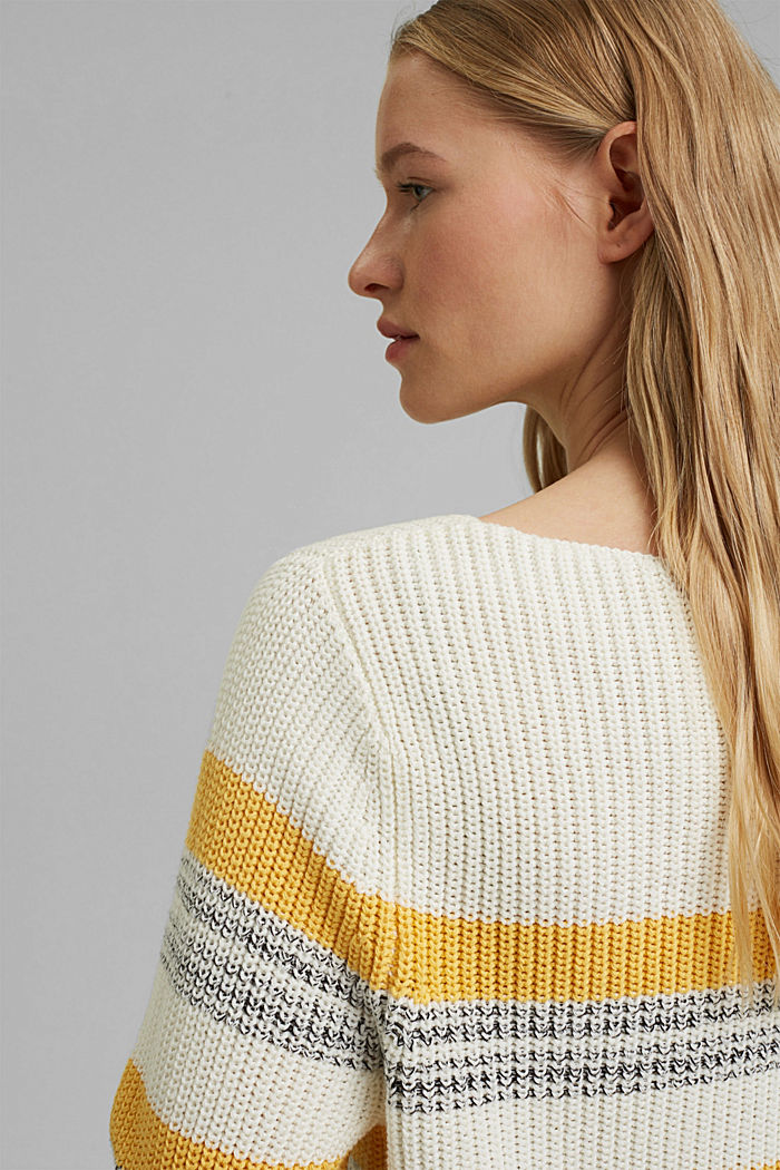 Striped jumper made of organic cotton, OFF WHITE, detail image number 5