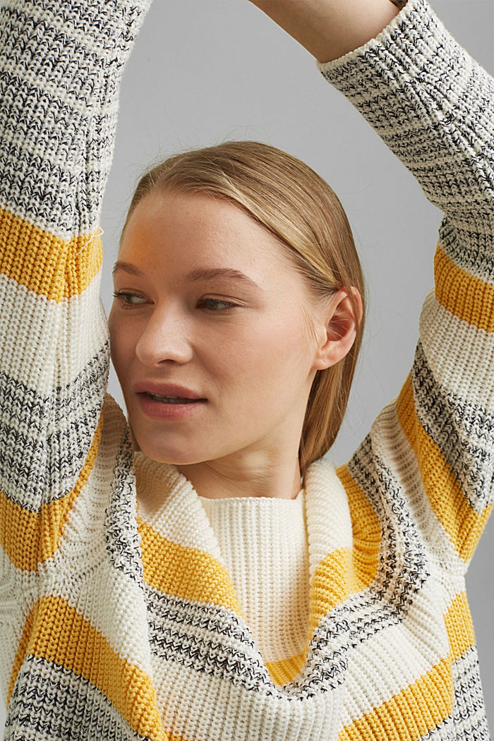Striped jumper made of organic cotton, OFF WHITE, detail image number 7