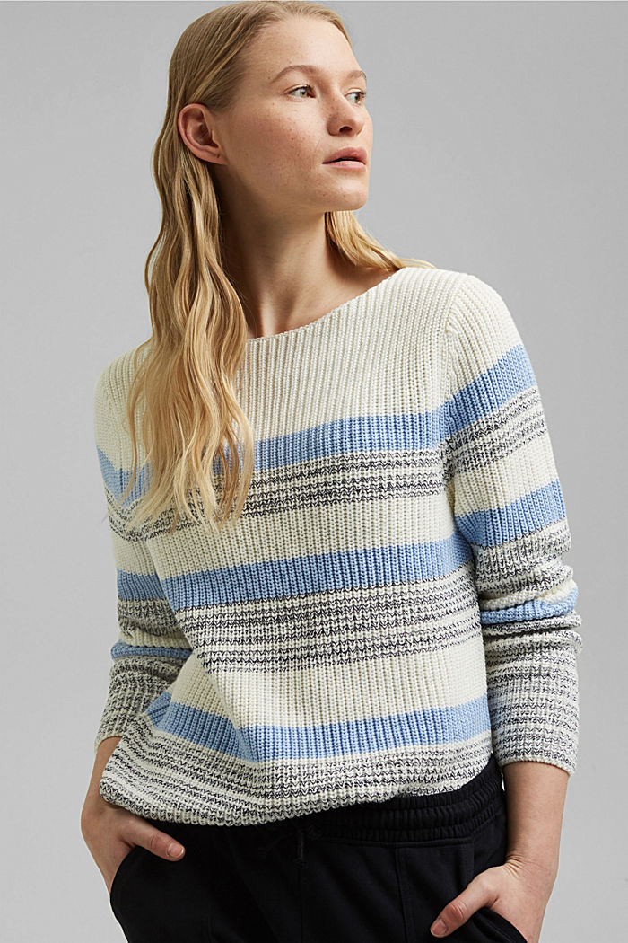 Striped jumper made of organic cotton, PASTEL BLUE, detail image number 0