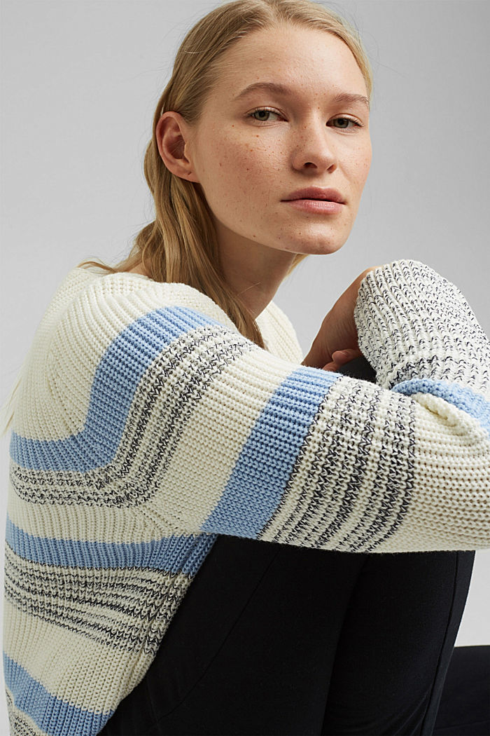 Striped jumper made of organic cotton, PASTEL BLUE, detail image number 5