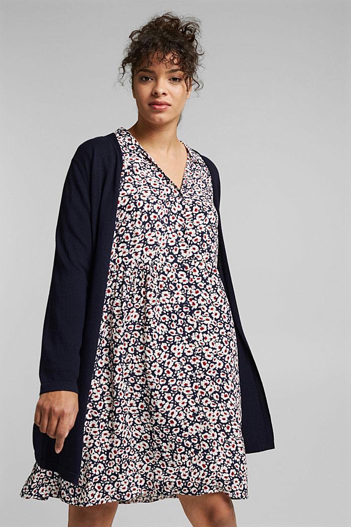 CURVY cardigan containing organic cotton, NAVY, detail image number 0