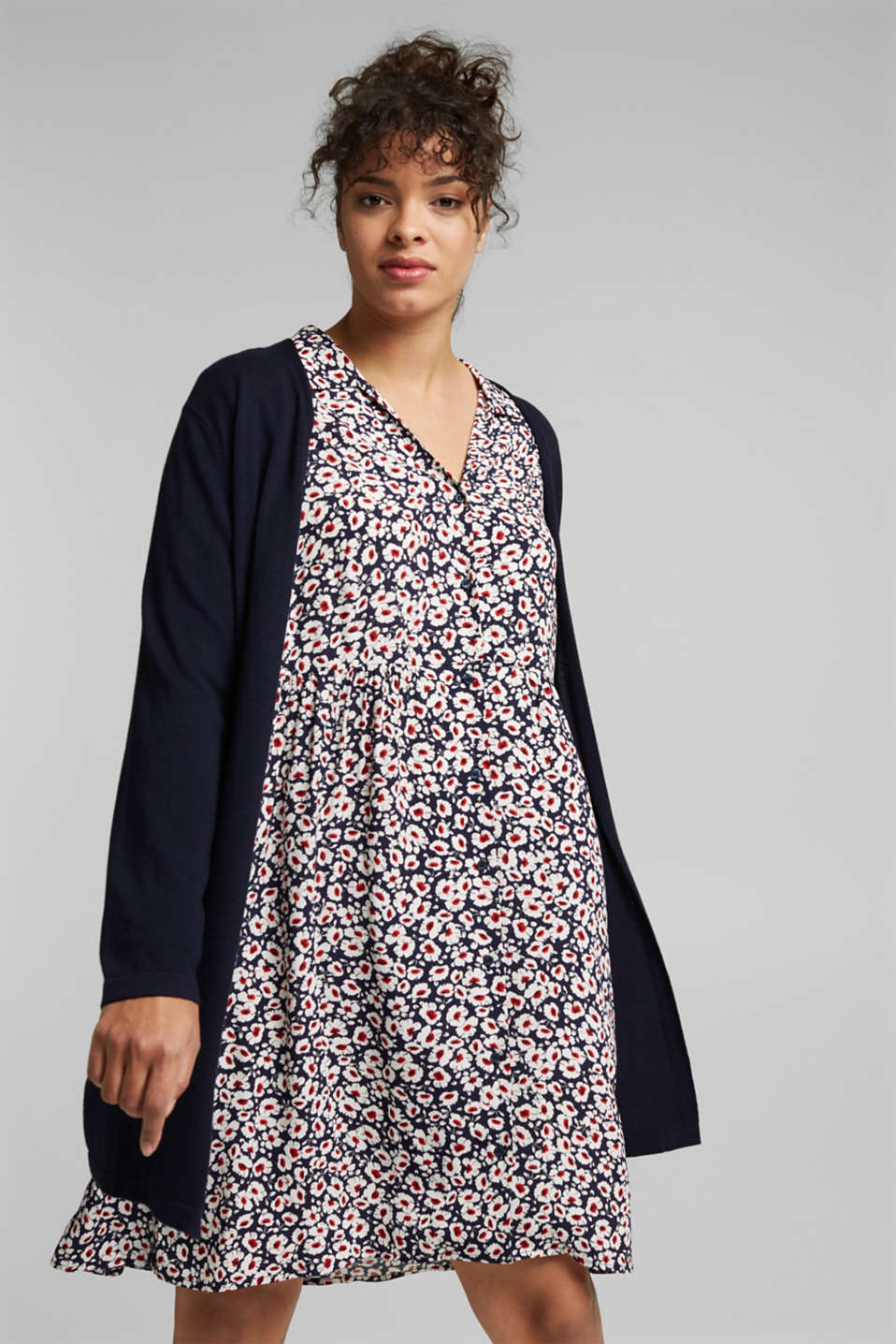 Esprit - CURVY cardigan containing organic cotton