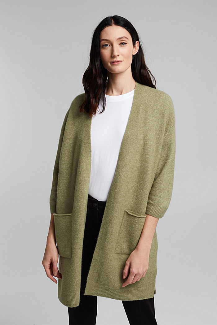 Mit Wolle und Alpaka: Long Cardigan, LIGHT KHAKI, detail image number 0