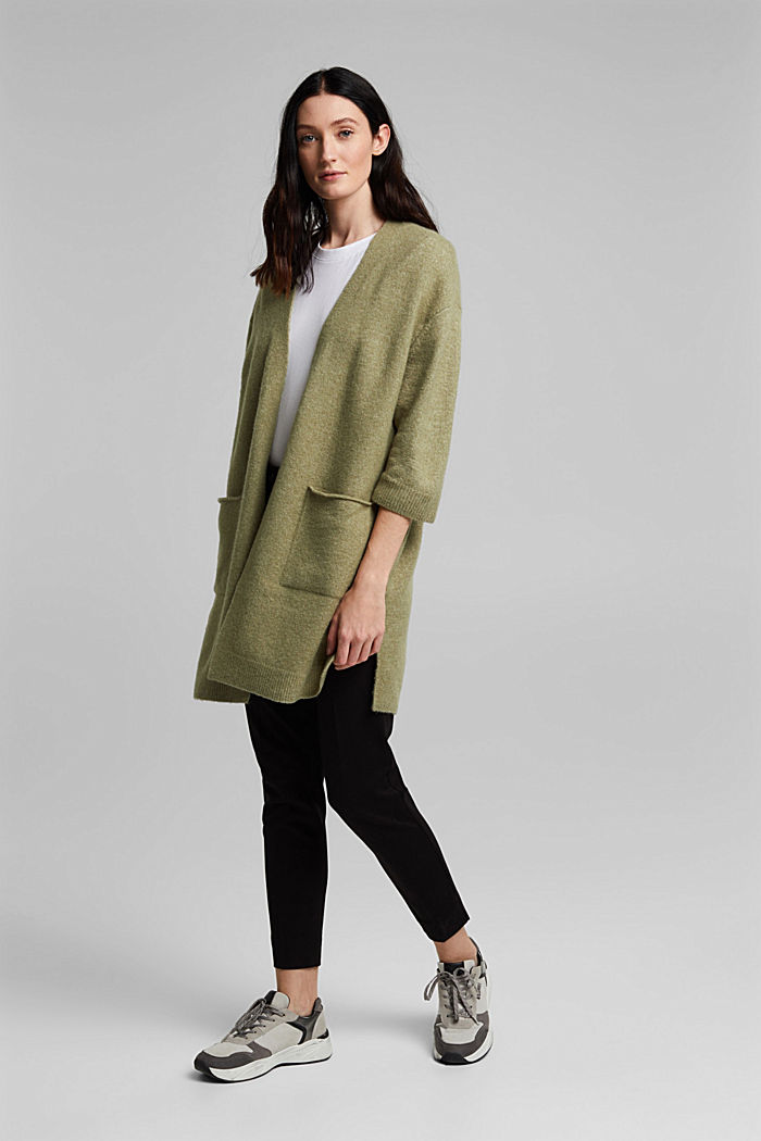 Mit Wolle und Alpaka: Long Cardigan, LIGHT KHAKI, detail image number 1
