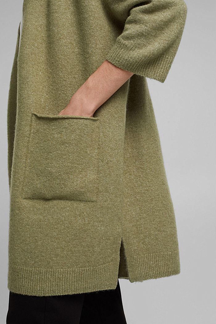 Mit Wolle und Alpaka: Long Cardigan, LIGHT KHAKI, detail image number 2