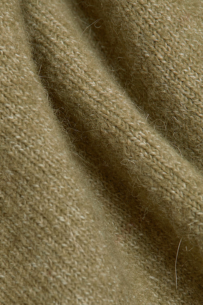 Mit Wolle und Alpaka: Long Cardigan, LIGHT KHAKI, detail image number 4