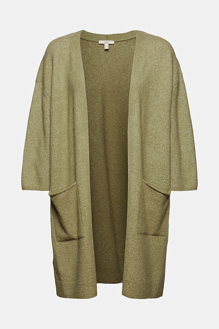 Mit Wolle und Alpaka: Long Cardigan, LIGHT KHAKI, detail image number 6