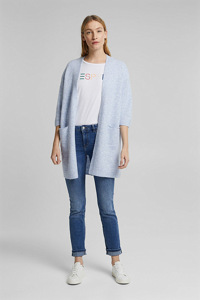 With wool and alpaca: long cardigan, PASTEL BLUE, detail image number 1
