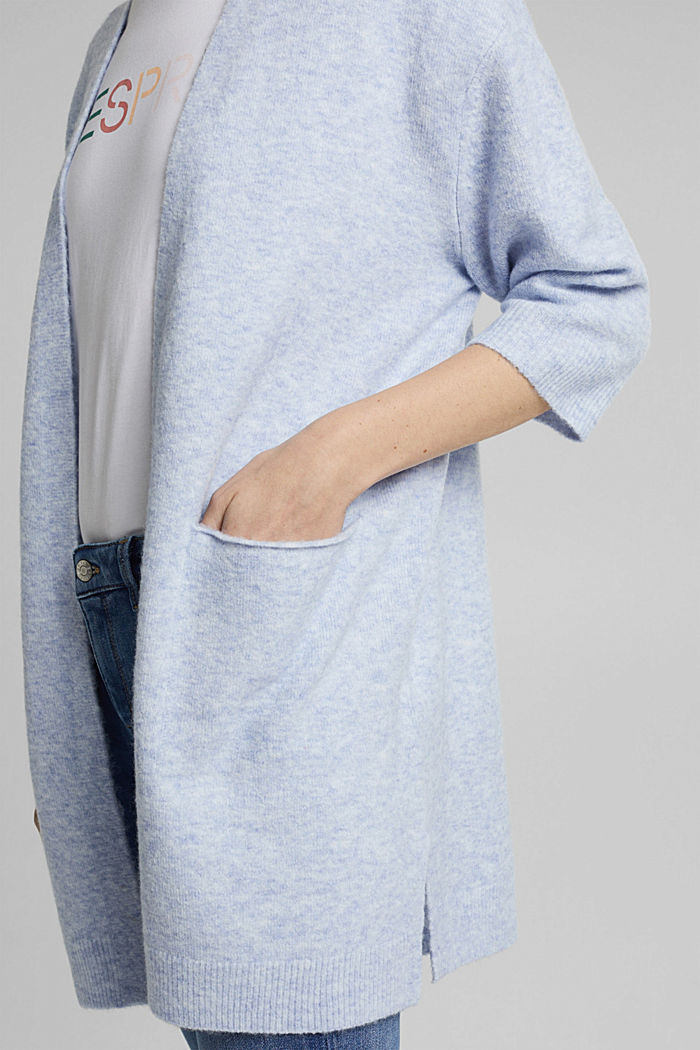 With wool and alpaca: long cardigan, PASTEL BLUE, detail image number 2