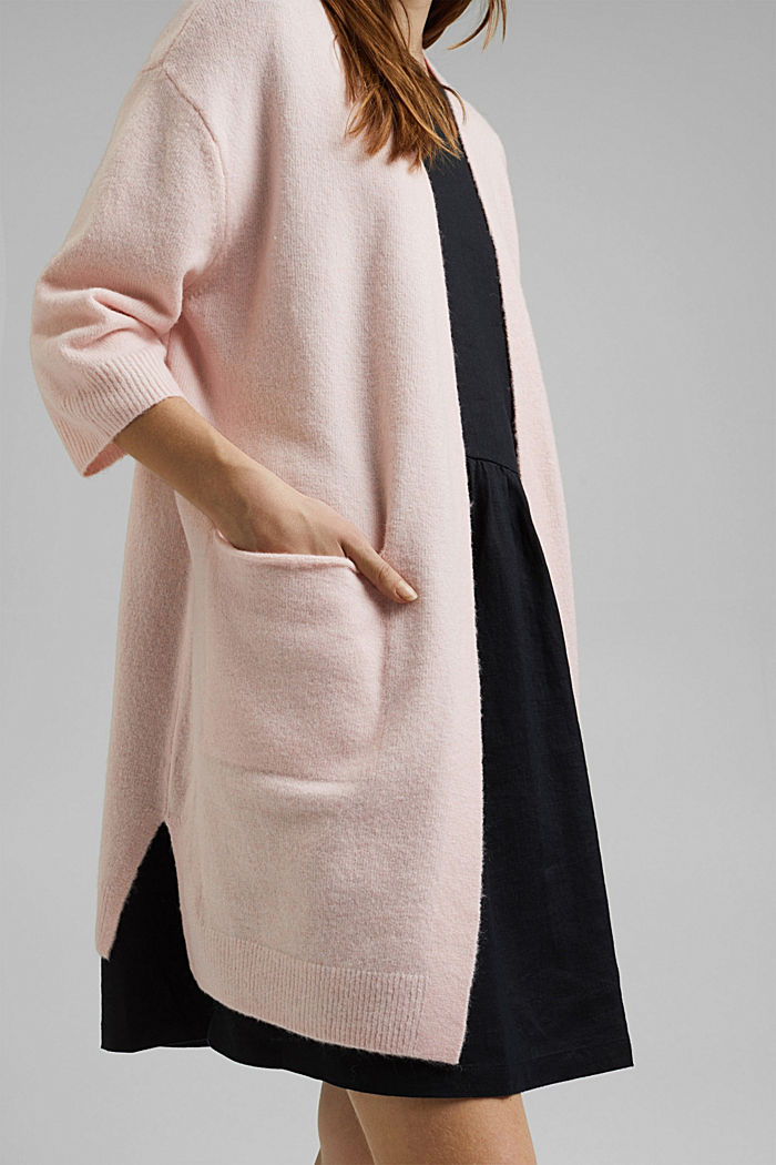 With wool and alpaca: long cardigan, NUDE, detail image number 2