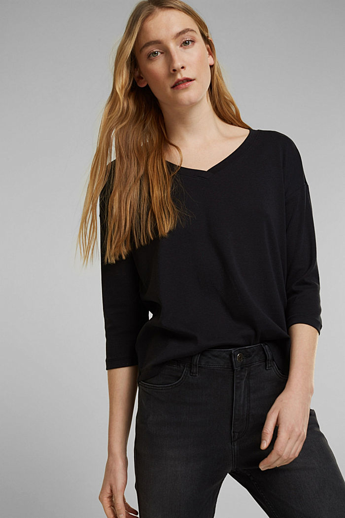 Organic cotton long sleeve top with LENZING™ ECOVERO™, BLACK, detail image number 0