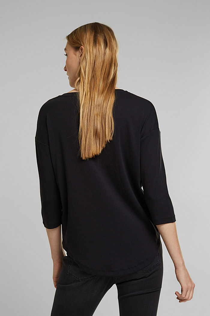 Organic cotton long sleeve top with LENZING™ ECOVERO™, BLACK, detail image number 3