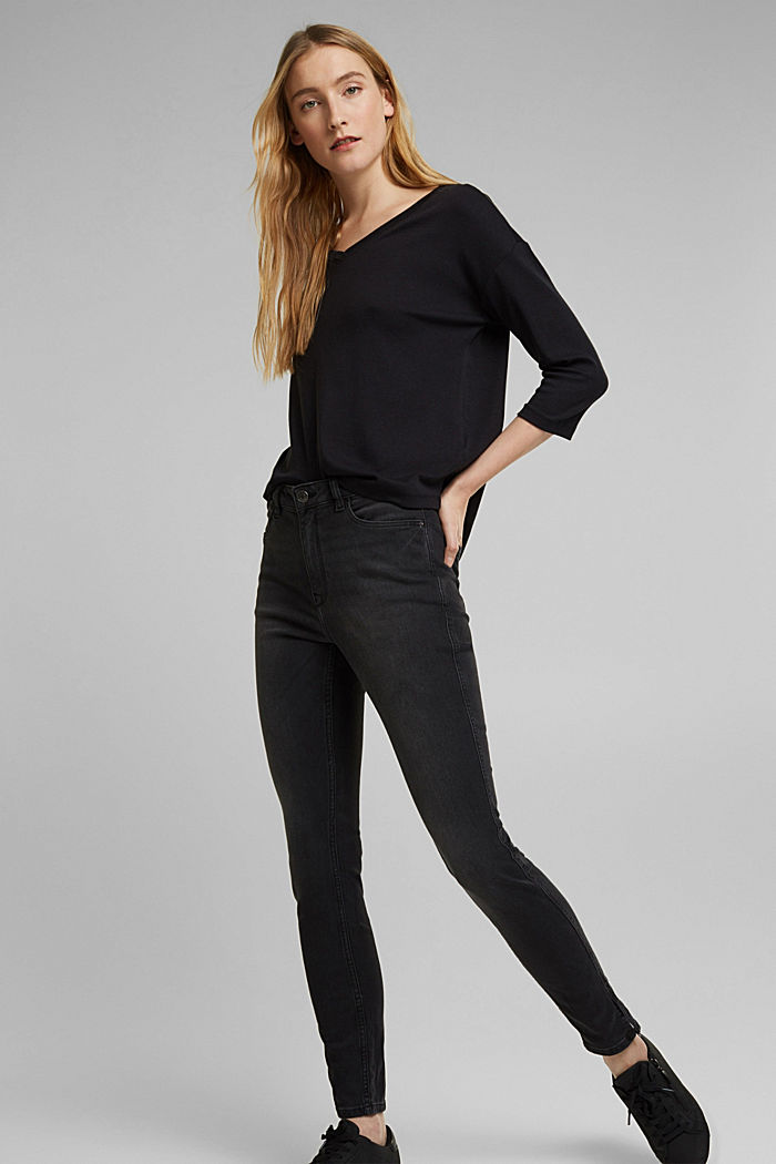 Organic cotton long sleeve top with LENZING™ ECOVERO™, BLACK, detail image number 1