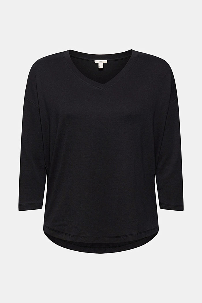 Organic cotton long sleeve top with LENZING™ ECOVERO™, BLACK, detail image number 5