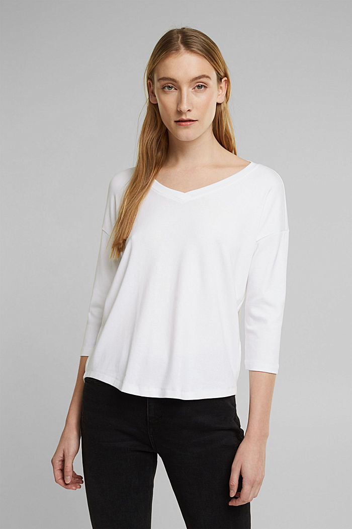 Organic cotton long sleeve top with LENZING™ ECOVERO™, WHITE, detail image number 0