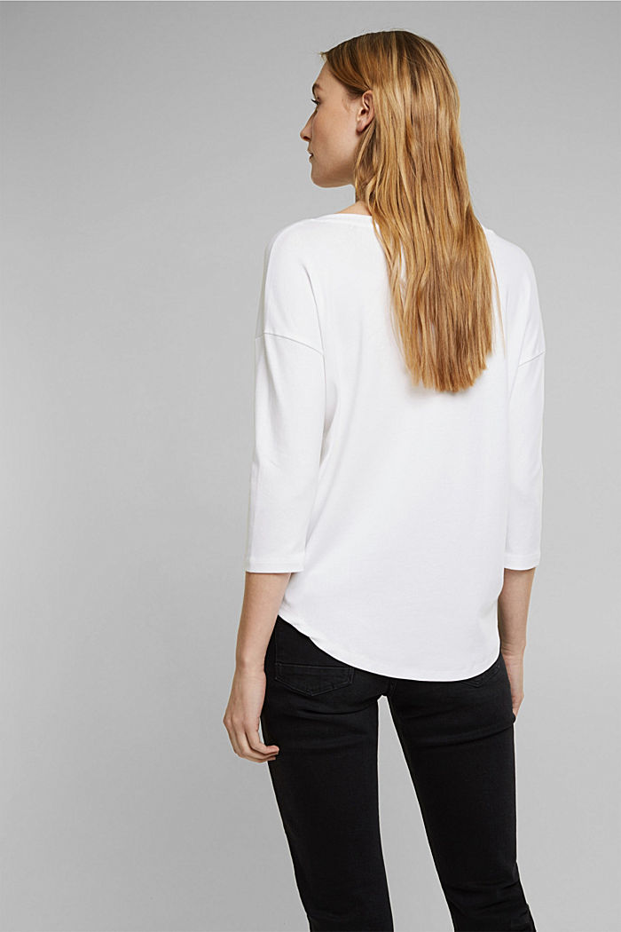 Organic cotton long sleeve top with LENZING™ ECOVERO™, WHITE, detail image number 3