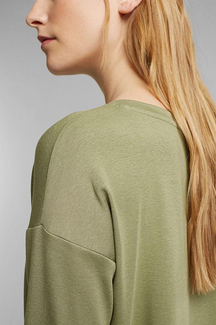 Organic cotton long sleeve top with LENZING™ ECOVERO™, LIGHT KHAKI, detail image number 4