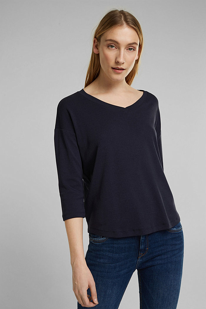 Organic cotton long sleeve top with LENZING™ ECOVERO™, NAVY, detail image number 0