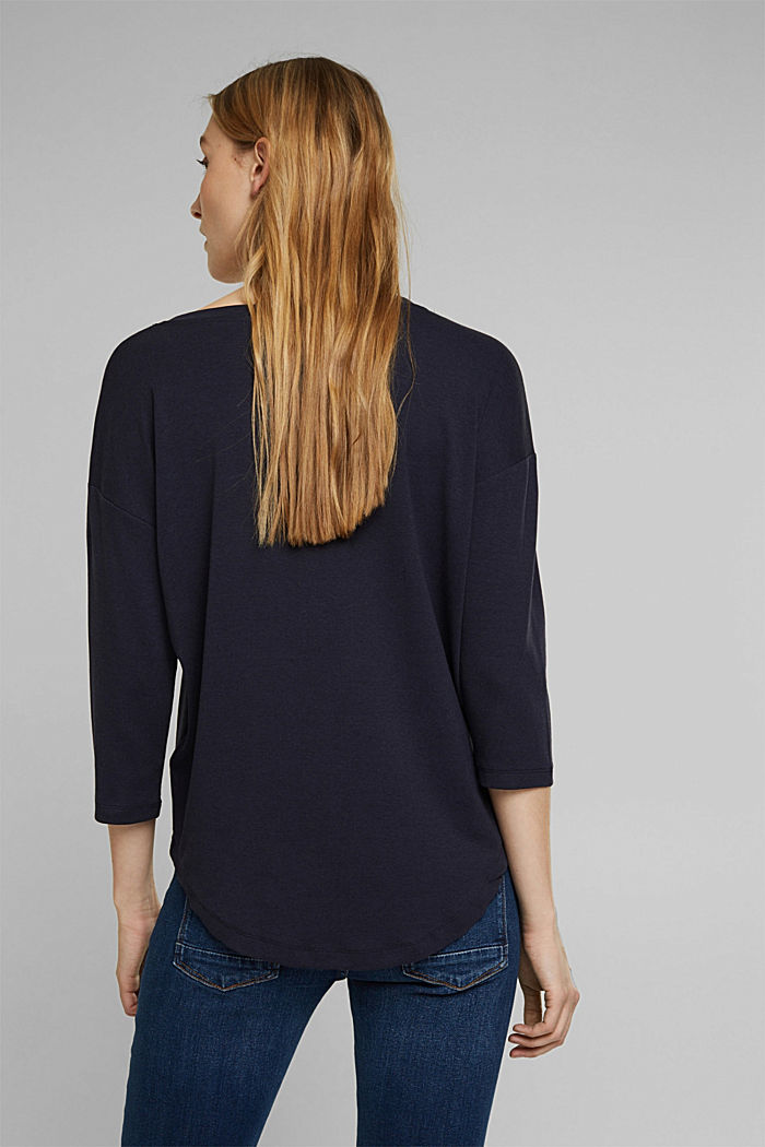 Organic cotton long sleeve top with LENZING™ ECOVERO™, NAVY, detail image number 3
